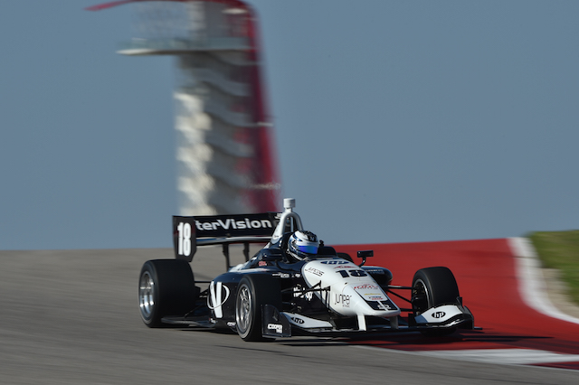 Kyle Kaiser will be back in the familiar Juncos Racing No. 18 to chase the $1million Mazda Motorsports Advancement Scholarship (Photo courtesy of Indianapolis Motor Speedway, LLC Photography)