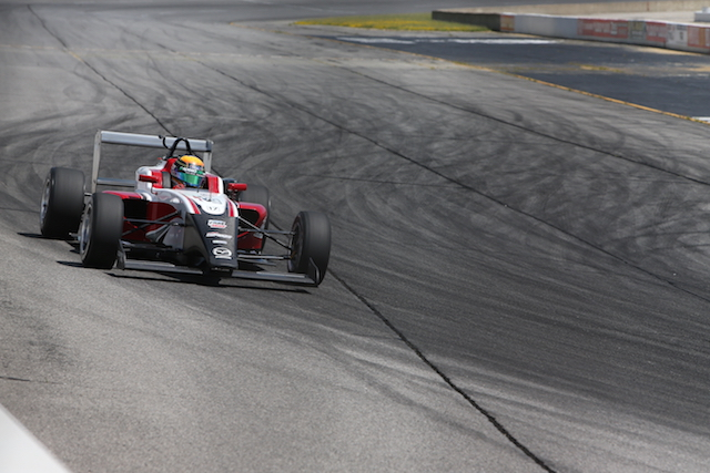 Matt Brabham spent the day putting the USF-17 through it's maiden oval test at Lucas Oil Raceway (Photo courtesy of Indianapolis Motor Speedway, LLC Photography)