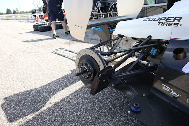 The PFC brakes that will stop the USF-17 (Photo courtesy of Indianapolis Motor Speedway, LLC Photography)